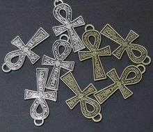 30pcs Life Egypt Cross Vintage Silver Bronze Color Pendant Egyptian Jewelry Charms 37x21mm