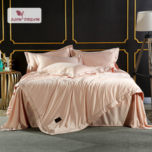 SlowDream Luxury Champagne Gold Silk Bedding Set Silky Duvet Cover Home Textiles Embroidery Bed With Flat Sheet 4Pcs