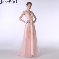 JaneVini Elegant V Neck Long Bridesmaid Dresses With Lace Applique Tulle A Line Peach Pink Wedding Party Dress Formal Prom Gowns