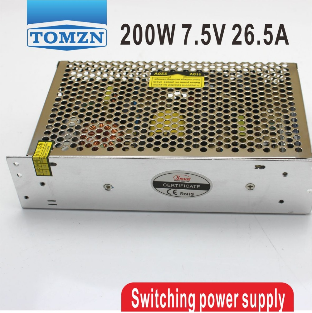 200W 7.5V 26.5A Single Output Switching power supply for LED Strip light AC to DC ac 85v 265v to 20 38v 600ma power supply driver adapter for led light lamp