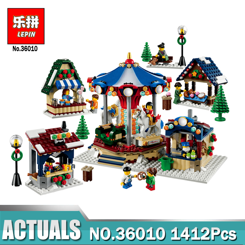 Фотография Lepin 36010 1412Pcs Creator Winter Village Market Set Legoing 10235 Building Blocks Bricks Toys for children Christmas Gift
