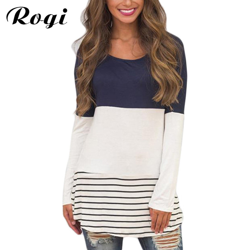 Rogi Womens Tops and Blouses 2018 Fashion Autumn Lace Stripe Tunic Shirt Long Sleeve Female Jumper Tops Blusas Y Camisas Mujer(China)