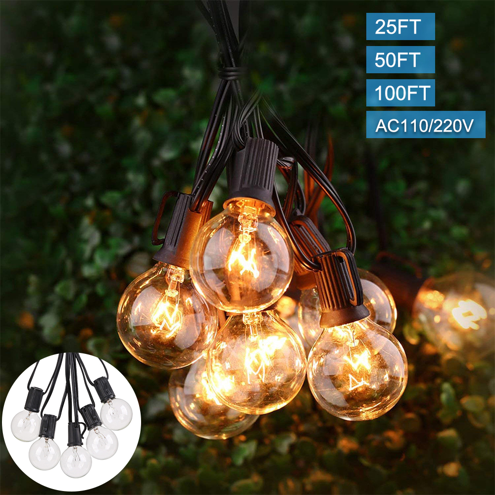 25FT/50FT/100FT Waterproof Retro Globe String Festoon Lights 25 50 100Clear Bulbs G40 Outdoor  Indoor&Outdoor Decoration String