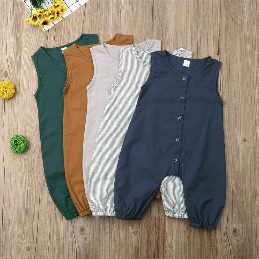 Cotton Newborn Baby Rompers Toddler Boys Girls Solid Casual Sunsuit Outfits Clothes Little Baby Summer Soft Playsuit Outfits