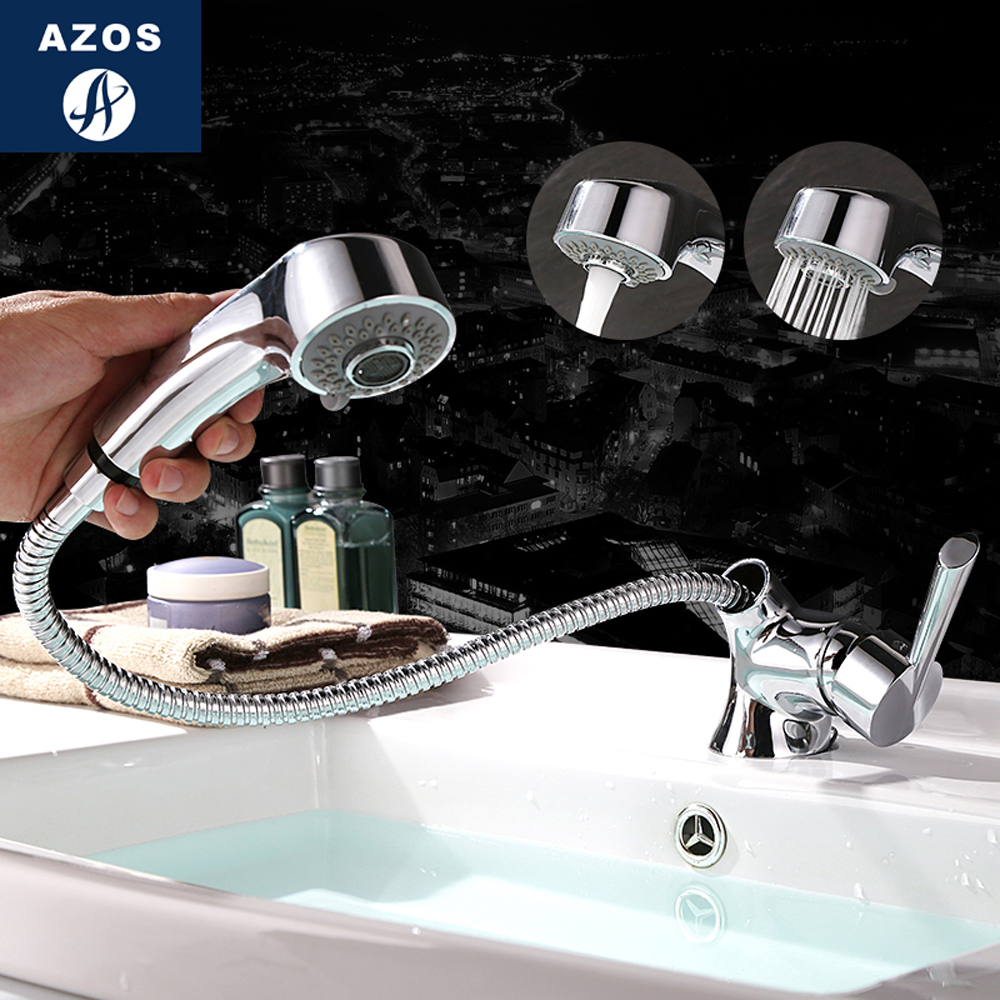 Modern Bathroom Faucet Pull Out Shower Head Nozzle Single Handle Swivel Spout Sink Mixer Tap Chrome Polish 2 Modes CLMP017Z kitchen chrome plated brass faucet single handle pull out pull down sink mixer hot and cold tap modern design