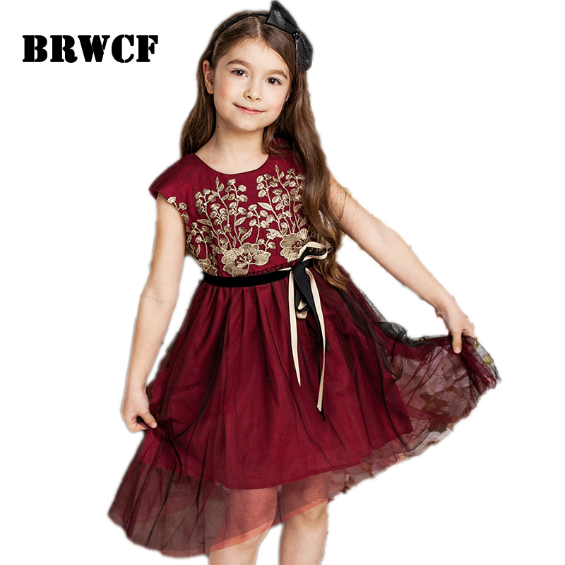 BRWCF Baby Girls Dresses Summer 2017 Kids Lace Princess Dress for Party and Wedding Toddler Girls Children Clothes  3-10 Years kids girls dresses for party and wedding 2016 summer lace flowers princess dress for girls clothes vestido pink yellow green