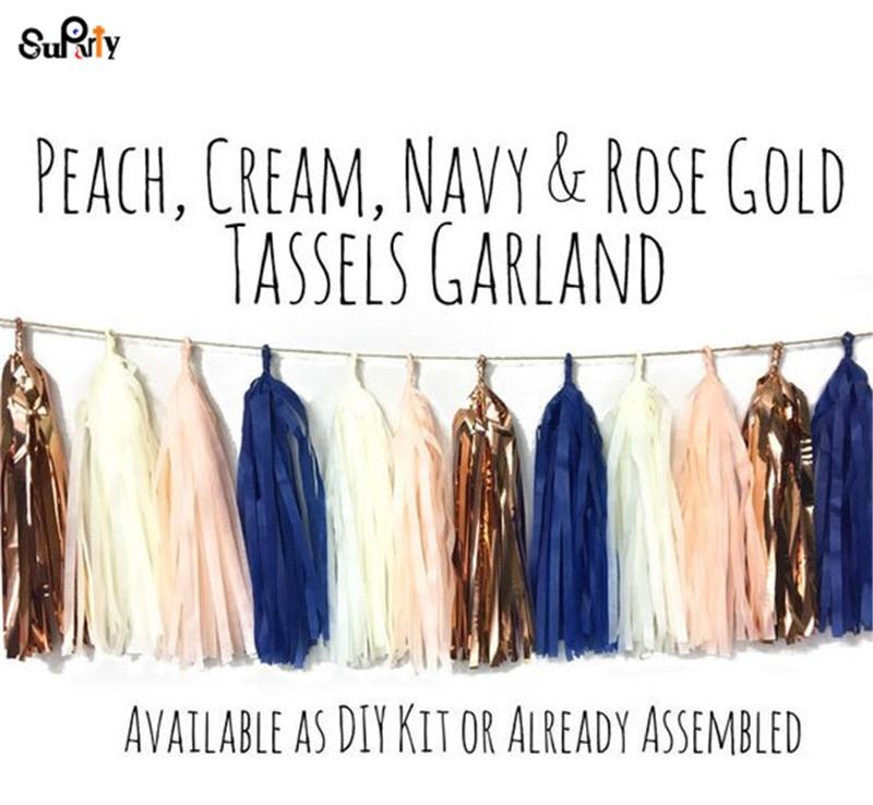 20pcs Navy Blush Rose Gold Tassel Garland Peach Cream Baby Shower