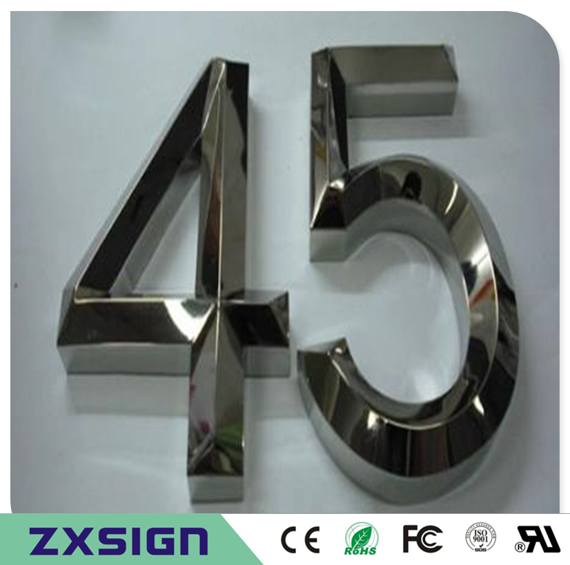 Factoy Outlet Outdoor 3D brushed mirror polished stainless steel house number, home number