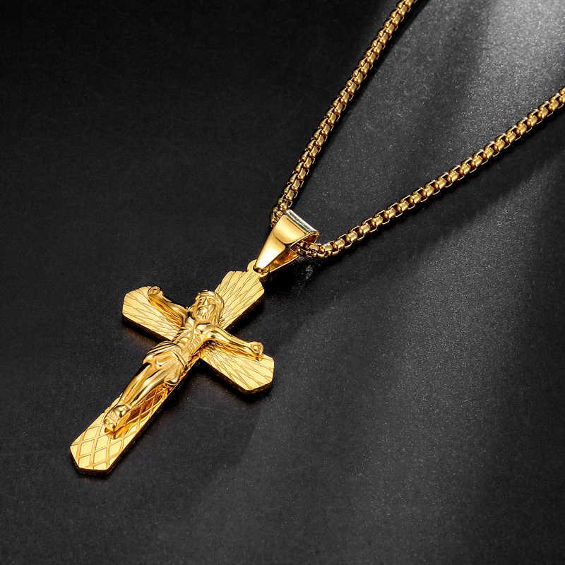 HIP Hop wisiorek z ukrzyżowanym Jezusem naszyjnik złoty kolor 316L ze stali nierdzewnej naszyjniki i wisiorki dla mężczyzn biżuteria 24 cal 60 cm (łańcuch)