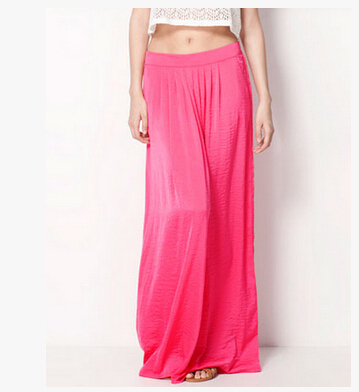 Женская длинная юбка в стиле знаменитостей пастельных конфетных цветов, плиссированная юбка размера плюс для женщин, юбки синего, зеленого, розового, красного цветов - Цвет: Розовый