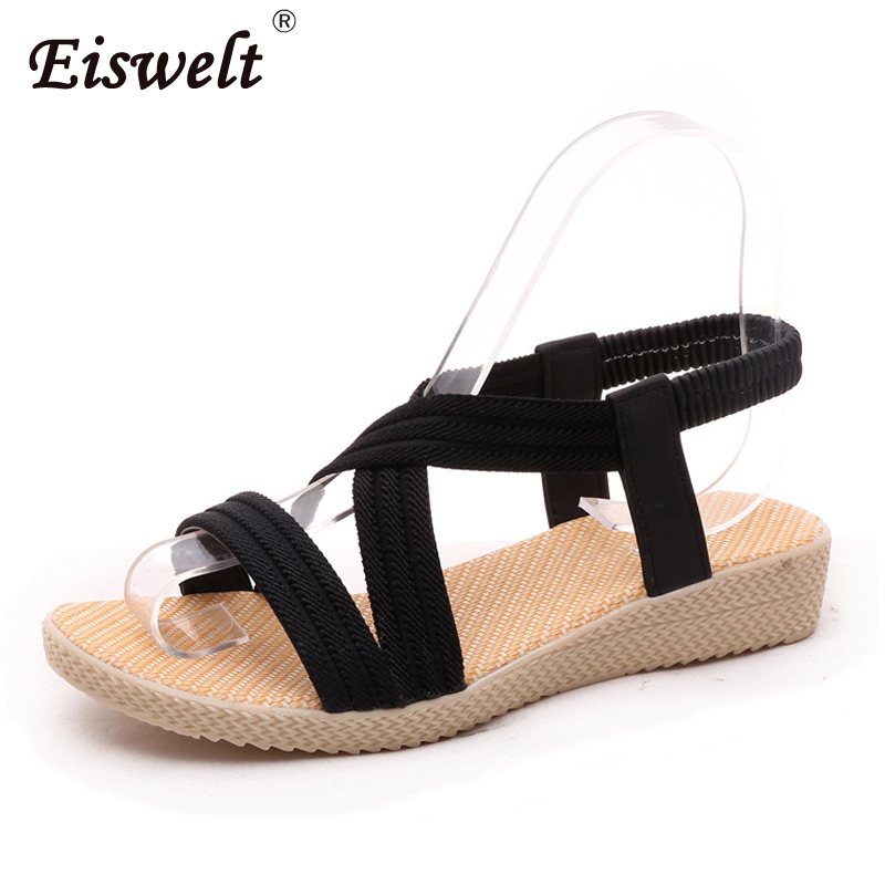EISWELT Fashion Shoes Women Sandals Bohemia Gladiator Beach Ladies Casual Flat Solid Sandals Leisure Female Women Sandals nib rotary encoder e6b2 cwz6c 5 24vdc 800p r