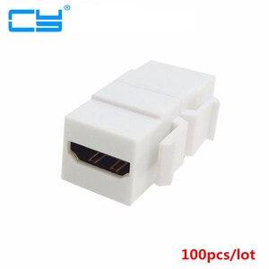 Image 1 - Adaptateur de coupleur Jack Keystone blanc, 100 pièces/lot, compatible HDMI, femelle à femelle, F/F, pour plaque murale, 1.4