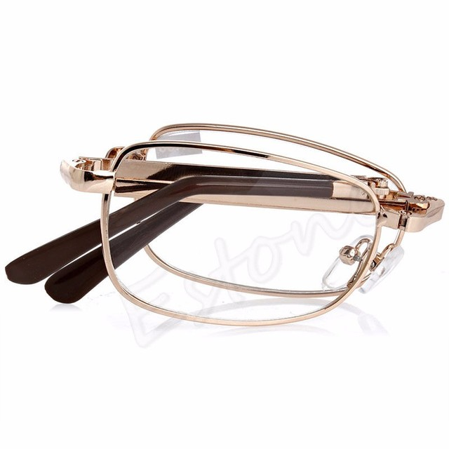 1pc Folding Metal Reading Glasses +1.0 1.5 2.0 2.5 3.0 3.5 4.0 Diopter With Case