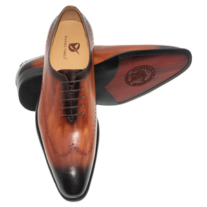 Image 5 - ของแท้หนังผู้ชายรองเท้าสำนักงานธุรกิจงานแต่งงานผสมสีหรูหราอย่างเป็นทางการ Brogue ชี้ Toe Oxfords รองเท้าบุรุษ