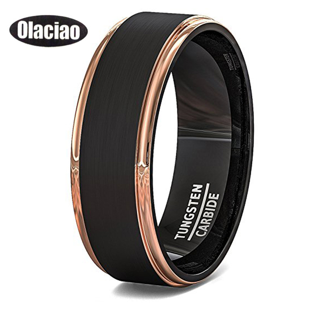 Free Shipping Mens Wedding Band Two Tone Black Brushed Tungsten Ring 6mm Rose Gold Step Edge