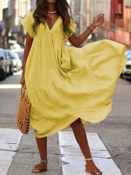 WEPBEL Women Dress V Neck Irregular Solid Color Short Sleeve Summer Casual Beach Loose Plus Size Long Ladies Dresses 2