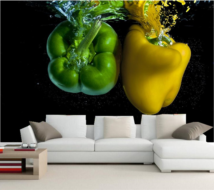 Custom 3d embossed wallpaper,Pepper Water Two Green Yellow Food wallpapers,restaurant living room tv sofa wall kitchen 3d mural