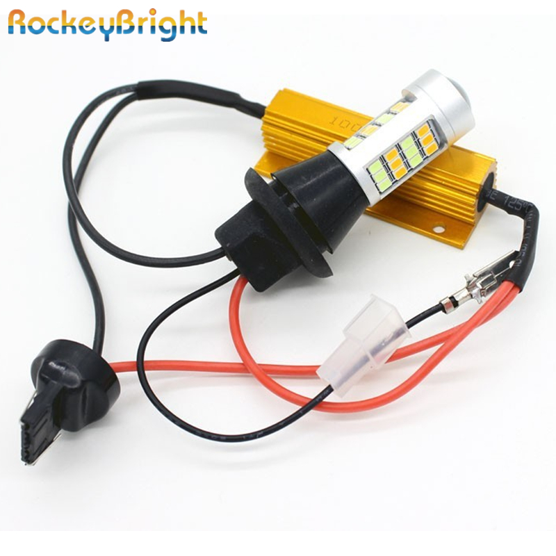 Rockeybright 2pc T20 7440 T25 3156 Auto Bulb W21/5W LED Bulb 7440 W21W Socket Turn Light LED 1156 BA15S Front Turning Lights DRL oris 674 7599 71 54 rs