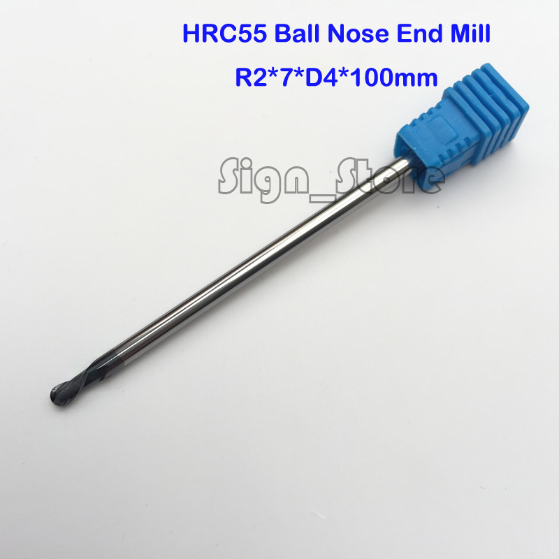 Long 2F R2.0*4*7*100mm Two flute Longer Spiral Bit Milling Tool Carbide Ball Nose End Mill lathe tool boring bar cnc machine 3 175 12 0 5 40l one flute spiral taper cutter cnc engraving tools one flute spiral bit taper bits