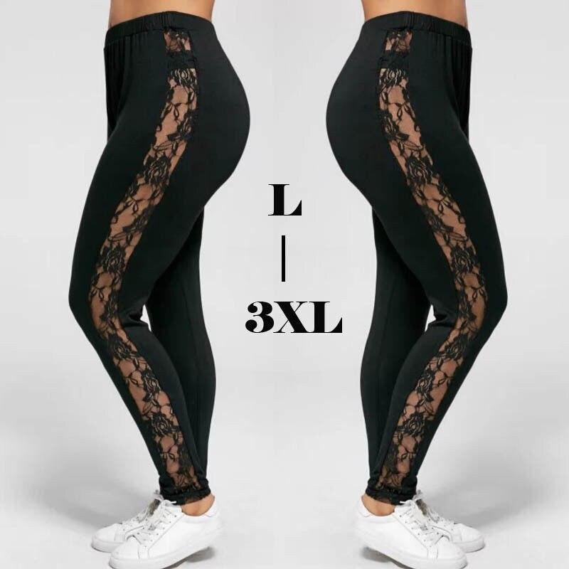 Mais tamanho sexy feminino holllow fora leggings de renda sexy cintura alta bandagem calças inserção pura leggings viscose elastano