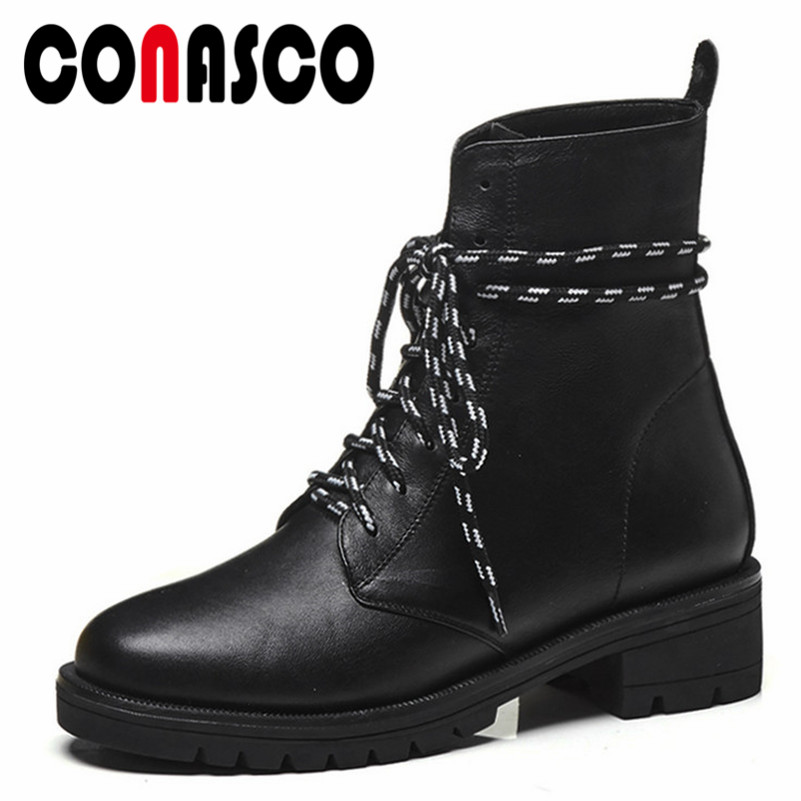 CONASCO New Punk Black Motorcycle Boots High Heels Corss-tied Short Warm Winter Shoes Woman Genuine Leather Basic Boots Shoes