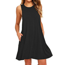 Hot Selling Casual Black Tank Dress with Side Pockets A-Line Sleeveless O-Neck Summer Sexy Dress black side pockets sleeveless outerwear