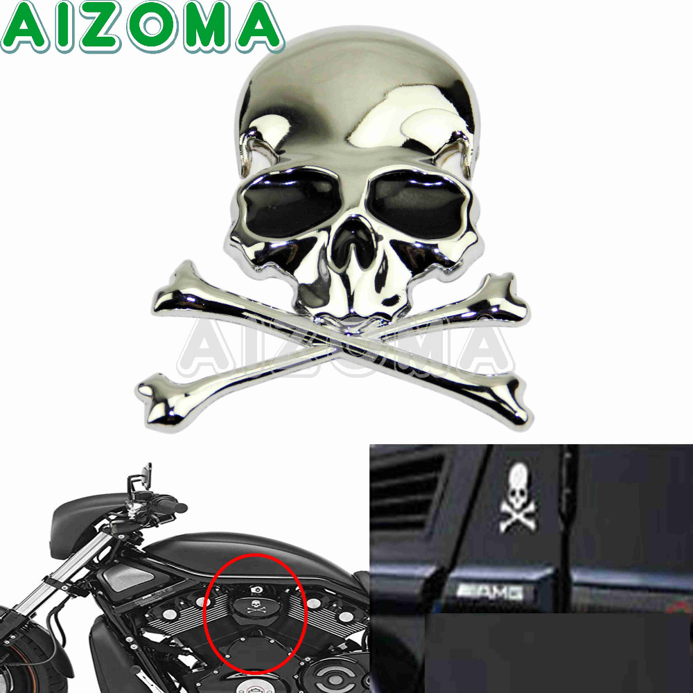 3D Sticker Universal Car Motorcycles High Quality Stainless Alloy Flag Skull Skeleton Sticker For Harley Chopper