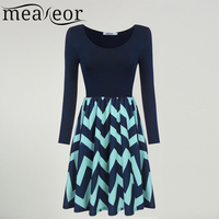 Meaneor Summer Autumn Dress Casual Long Sleeve Upper Solid Color Lower Wave Striped Pattern Slim Mini
