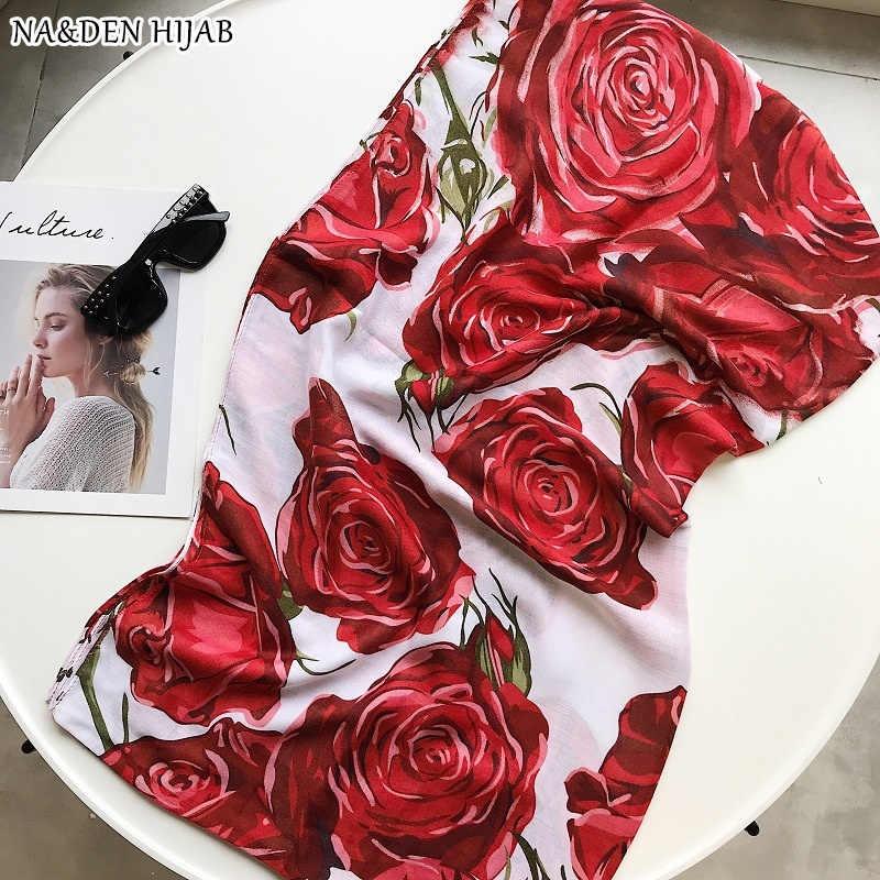 Фото Новый цветок розы печати хиджаб шарф с бахромой Роскошные мусульманские хиджабы