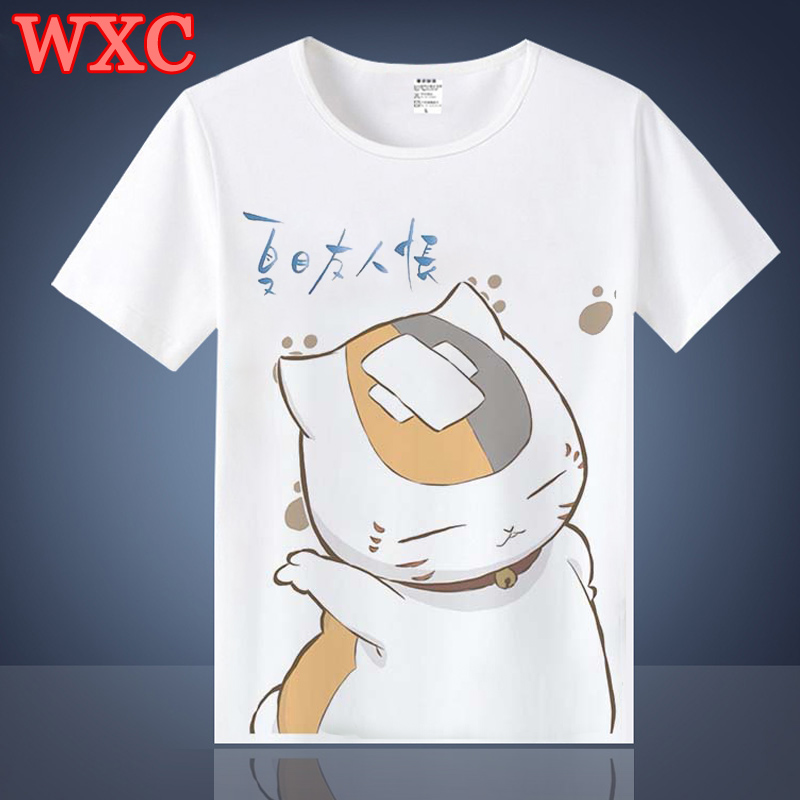 Harajuku T Shirt Anime Natsume Yuujinchou Cat teacher Natsume T-shirt Teens Kawaii Cartoon Short Sleeve Summer Tops Tee WXC