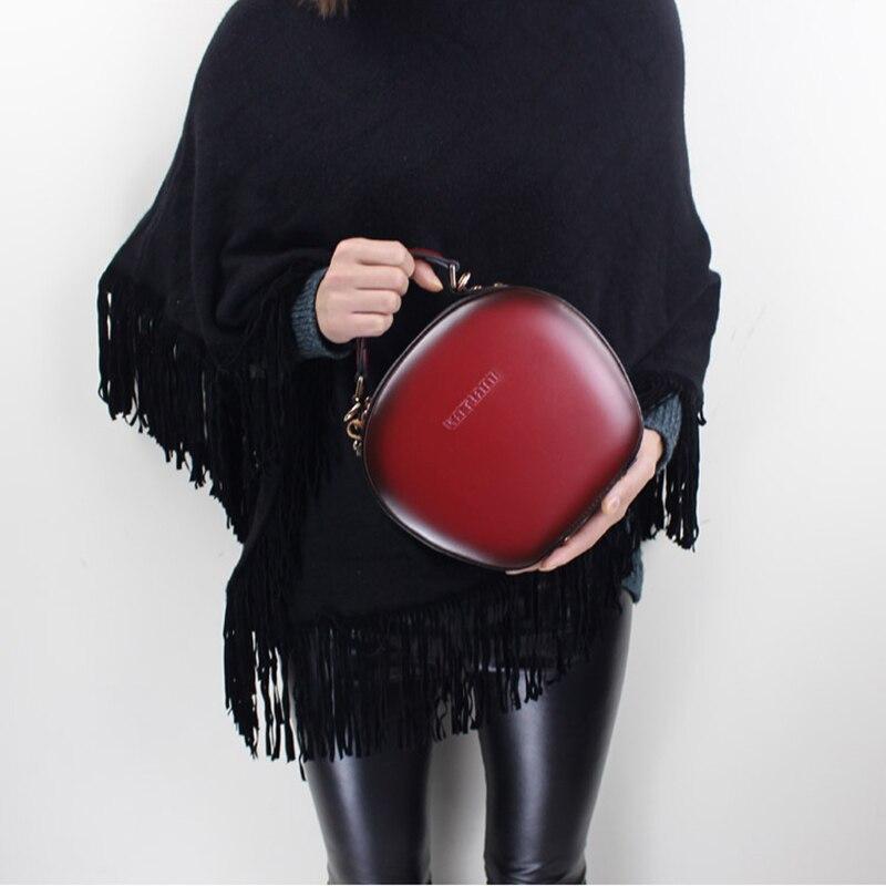 664d83d82458e الخريف 2018 المرأة حقيبة الكتف الرافعة حقيبة اليدوية جلد البقر رسول حقيبة  البسيطة جولة أعلى مقبض أكياس البني الأخضر  الأحمر