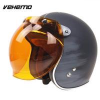 Motocicleta motocicleta abatible hacia abajo casco Retro burbuja espejo protector lente Base accesorios de coche|Cascos| |  -