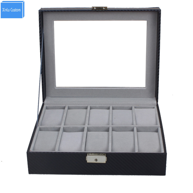 10 slot carbon fiber watch box jewelry display storage case with lock key and
