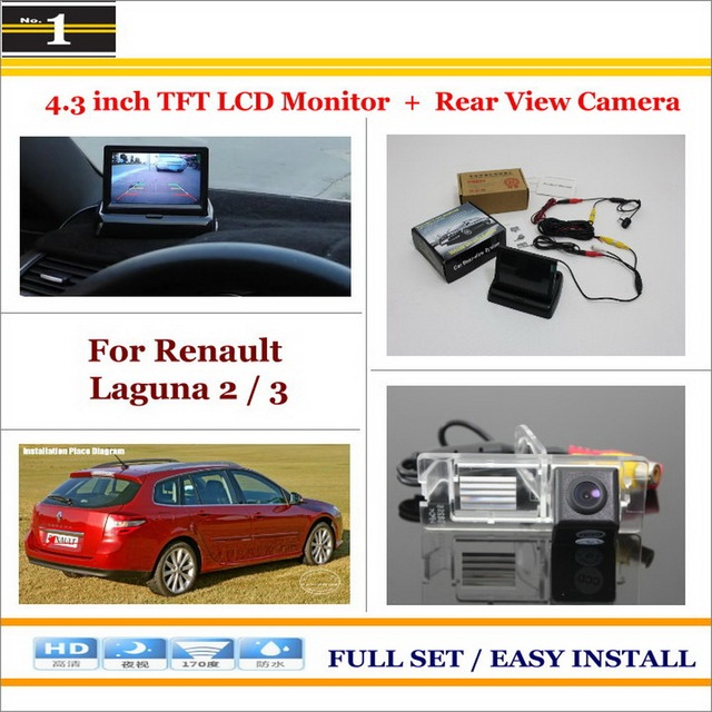 "Para Renault Laguna 2/3-Car Inverter Rear Camera + 4.3 ""Monitor LCD TFT = 2 em 1 Sistema De Estacionamento"