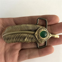 Retail New Style High Quality 3D Feathers Belt Buckle With 9 3cm 80g Solid Brass Man