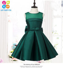 Green Satin Kids Party Dresses For Girls Wedding Dress Big Bow Girls Dresses  Princess Costume Bridesmaid Clothes Birthday Gown 467e45a2e8a5