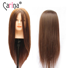 100% Real Hair Mannequin Head For Hairstyles 18 Hairdressing Practice Salon Manikin training Doll