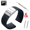 18mm 20mm 22mm 24mm Universal Link Bracelet Rubber Silicone Watchband Wrist Strap Soft Waterproof For Men Women Watches