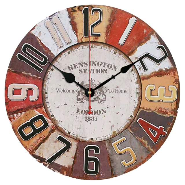 Vintage Look Silent Wooden Wall Clock Home Decoration – Type A