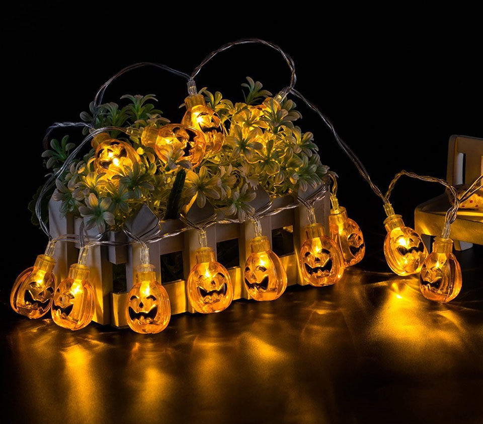 pumpkin halloween light outdoor decor string lights 10/20 LED solar backyard party lighting bettery powered lamp for decoration