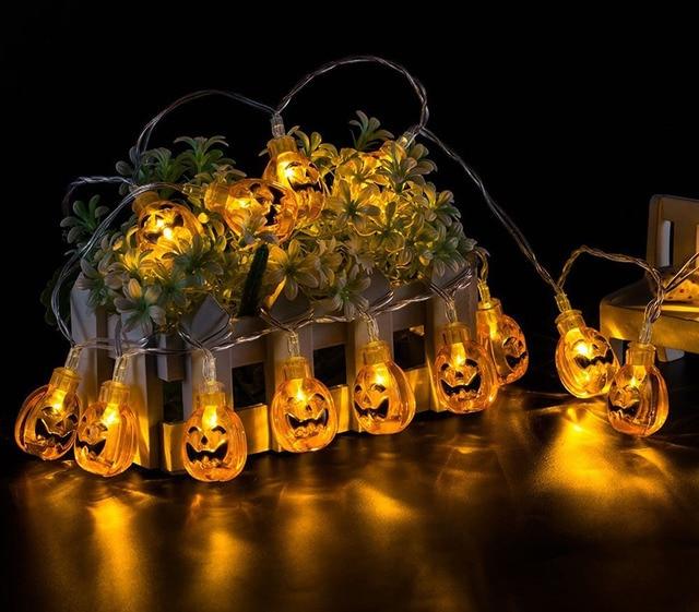 pumpkin halloween light outdoor decor string lights 10/20 LED solar backyard  party lighting bettery - Pumpkin Halloween Light Outdoor Decor String Lights 10/20 LED Solar