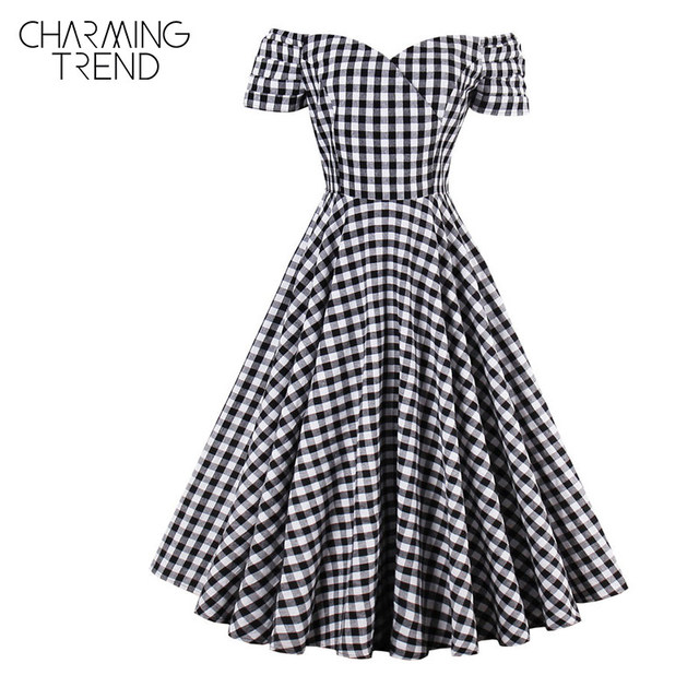 ... Skater Dress  brand new 6c34d b738a Charmingtrend Vintage Dress 2017  New Autumn Women Elegant Party Dress Off Shoulder ... 5ec77d3b9dac