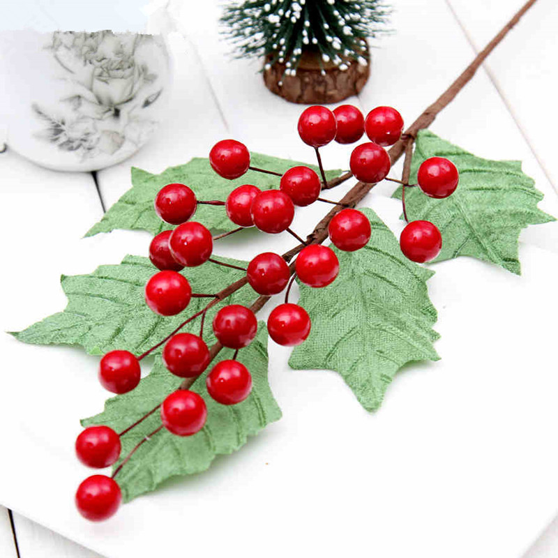 aliexpresscom buy red berries christmas ornament pineal 30cm snow christmas wreath decoration rattan stick inserted leaves 22g from reliable rattan - Red Berry Christmas Tree Decorations