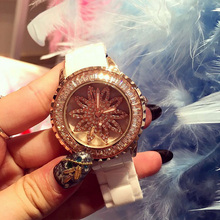 Luxury Brand Women Ceramic Strap Quartz Watch Female Rhinestone Rotatable Dial Wristwatch Sparkling Shining Ladies Watches OP001