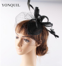 17 Colors elegant sinamay fascinator base feather hat birdcage veils headpiece cocktail hair accessories bridal hat