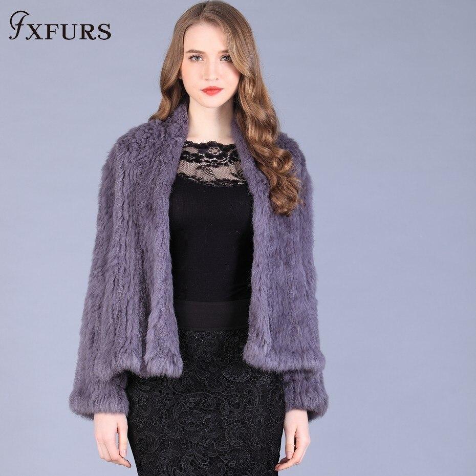 FXFURS 2019 Genuine Rabbit Fur Coat Fashion Fur Jackets Winter Warm Rabbit Outwear Fur Cardigan Women