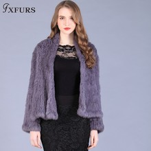 2015 end of a single handmade knitted rabbit fur coat double faced knitted rabbit fur cardigan