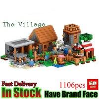 Lepin 1106pcs My World Minecraft The Village Model Kits Action Anime Figures Building Blocks Bricks Fun