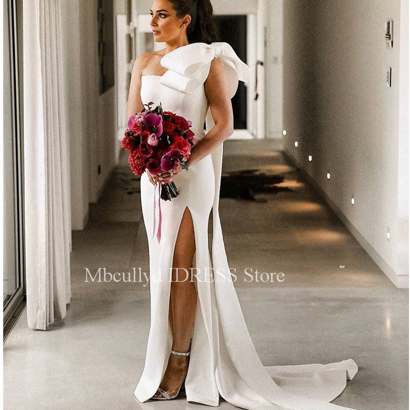 <font><b>Sexy</b></font> One Shoulder Mermaid <font><b>Wedding</b></font> <font><b>Dresses</b></font> <font><b>2019</b></font> With Bow Side Split White Bridal Gowns Bohemia <font><b>Boho</b></font> Bride <font><b>Dress</b></font> robe de mariee image