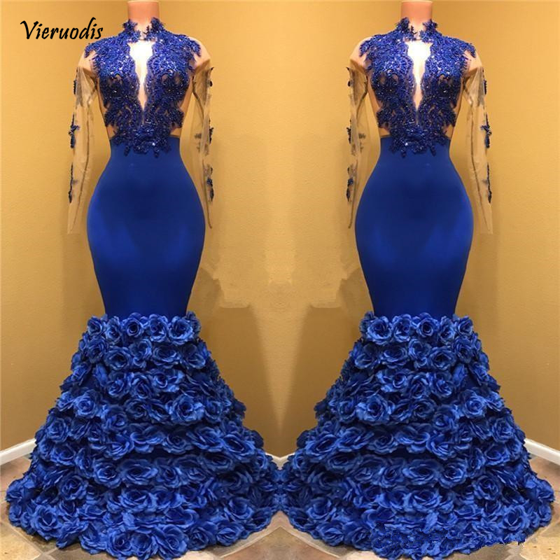 Royal Blue Lace Mermaid Long Prom Dresses 2019 High Neck